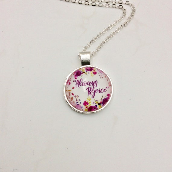 "JW.ORG Circle Floral Pendant, ""Always Rejoice"" Blue Velvet Gift Bag"