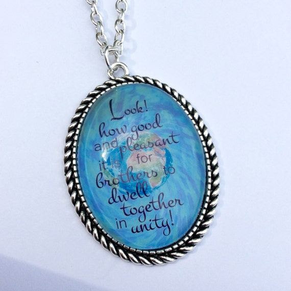"JW Pendant ""Look how good and pleasant it is for brothers to dwell together in Unity""  Pendant - Blue Velvet Gift Bag Included!"