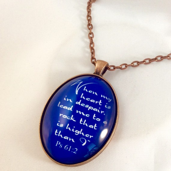 "JW Pendant, -Ps. 61:2, ""When my heart is in despair, lead me.....""  Handmade Copper Pendant.  Blue velvet gift pouch included."