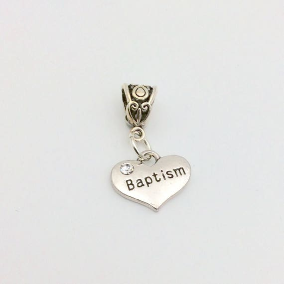 JW Charm, Dangle Baptism Charm with stone,  European Style, Silver-tone.  Blue velvet gift pouch included.