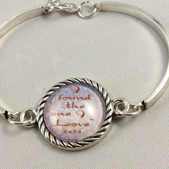 "JW Bracelet .   ""I have found the one I love"" Song of Solomon. Silver-tone setting, Adjustable size. Blue Velvet Gift Bag. #111"