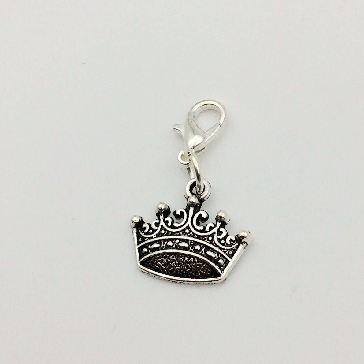 JW Charm, Dangle Crown, European Style or Lobster Claw, Silver