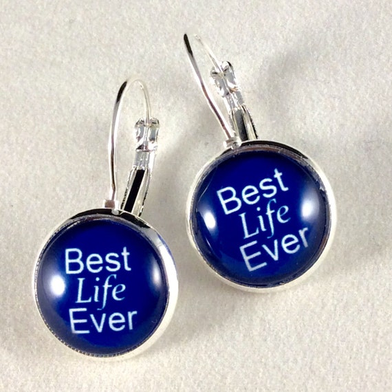JW Best Life Ever Lever-Back Earrings 14mm Glass, Antique Brass or Silver tone metal. Choice of 5 colors.  Blue velvet gift pouch