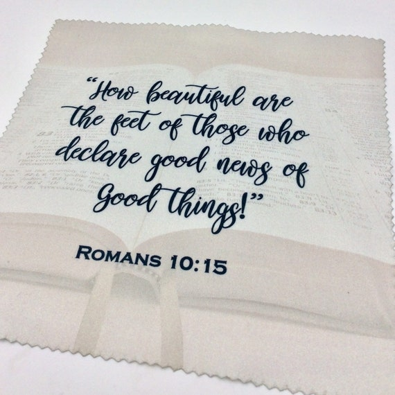 """The  """"Romans 10:15"""" Microfiber Optic/Screen Cloth. Lot of 1, 5, 10, 50 or 100 available. Perfect for pioneers! English or Spanish"""