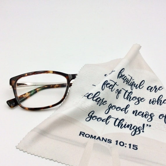 """The  """"Romans 10:15"""" Microfiber Optic/Screen Cloth. Lot of 1, 5, 10, 50 or 100 available. Perfect for pioneers!"""