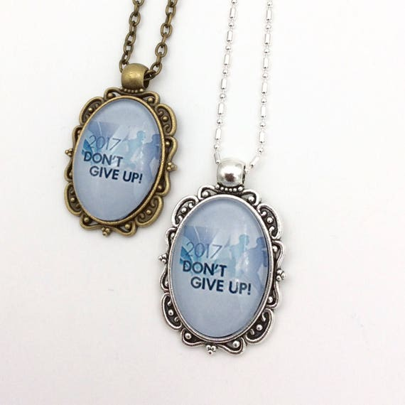 "JW Antique Brass or antique silver finish Pendant ""Don't Give Up"" on matching 18"" chain, Blue Velvet Gift Bag Included!"