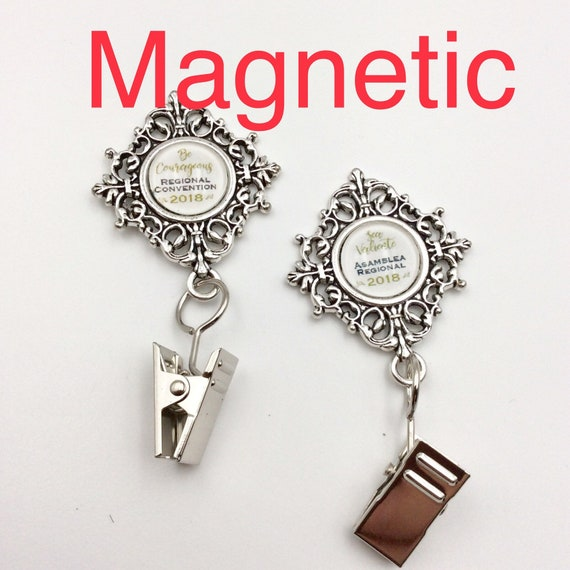 JW Badge Card Holder, Magnetic Closure.  Optional plastic card holder