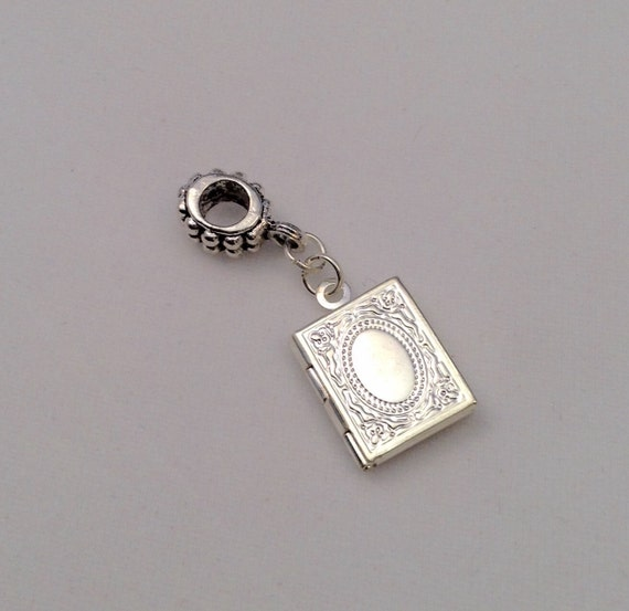 JW Charm Locket, Bible /Book, European Style, Silver-tone.  Blue velvet gift pouch included. #308