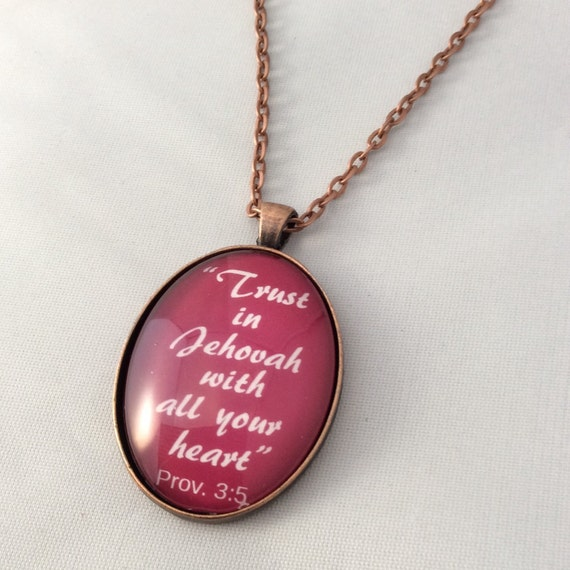 """JW Pendant, -Prov. 3:5, Red or Cream """"Trust in Jehovah..."""", - Handmade Copper  or Silver Tone Pendant. Blue Velvet Gift Bag Included!"""