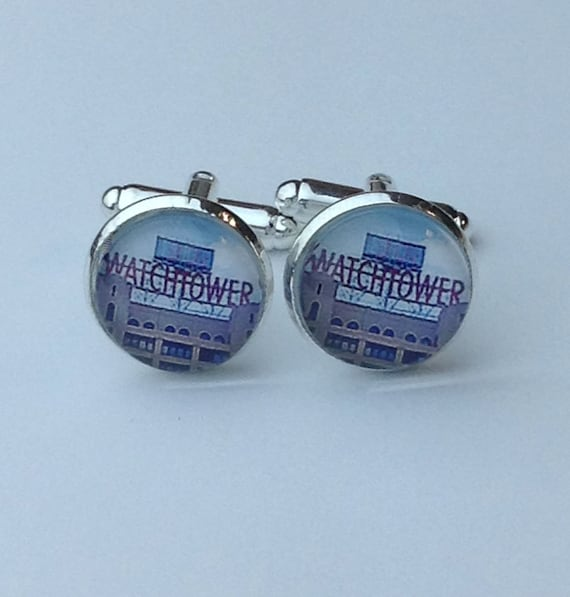 JW Color Watchtower Sign Cufflinks in silver tone metal,  14 mm, with black velvet gift bag! (Cufflinks Only!) #406
