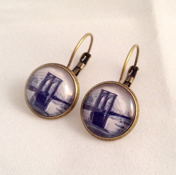 JW Brooklyn Bridge Circa 1890,  Lever-Back or Post Earrings in Silver tone or Antique Brass.  Blue velvet gift pouch included.