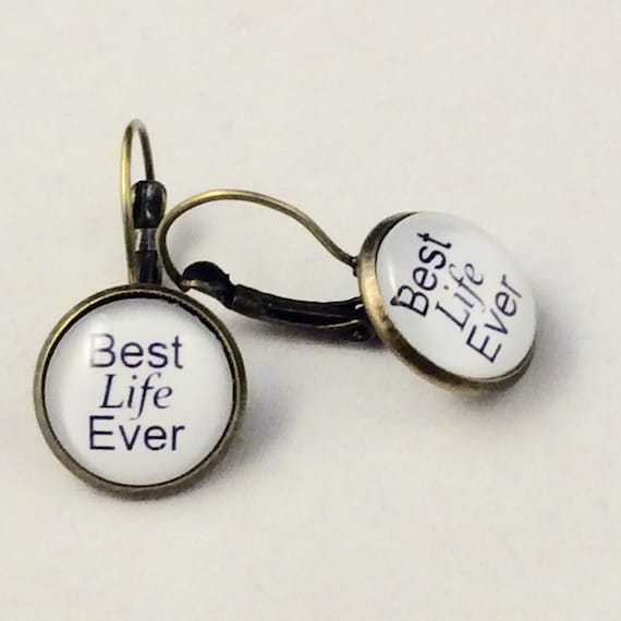 JW Best Life Ever Lever-Back Earrings 14mm Glass, Antique Brass or Silver tone metal. Choice of many colors.  Blue velvet gift pouch