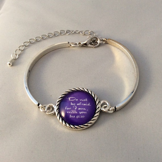 "JW Bracelet .   ""Do not be afraid, for I am with you"" in purple. Silver-tone setting, Adjustable size. Blue Velvet Gift Bag! #111"