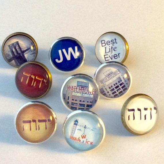 JW.ORG  Tie Tack. Tetragrammaton, Watchtower Sign, Warwick, Best Life Ever.    Antique Brass or Silver tone Finish. Blue Velvet Gift Bag!