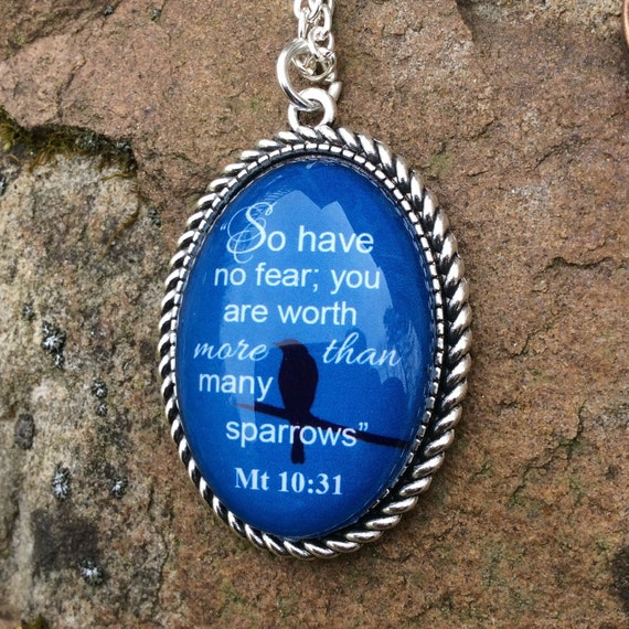 "JW Pendant  ""So have no fear..sparrows"" Matt 10:31 NWT,  Copper or Silver plated Pendant 30mm x 20mm - Blue Velvet Gift Bag Included!"