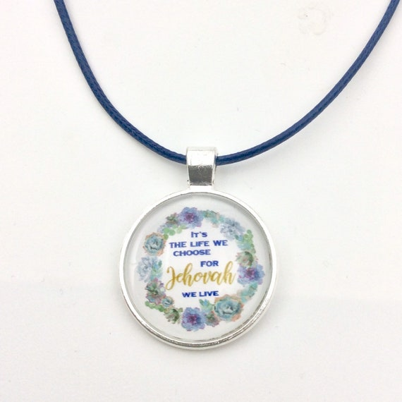 JW.ORG Circle Floral Pendant, three options, Do not be afraid, Just around the corner, and For Jehovah we live.  Blue Velvet Gift Bag