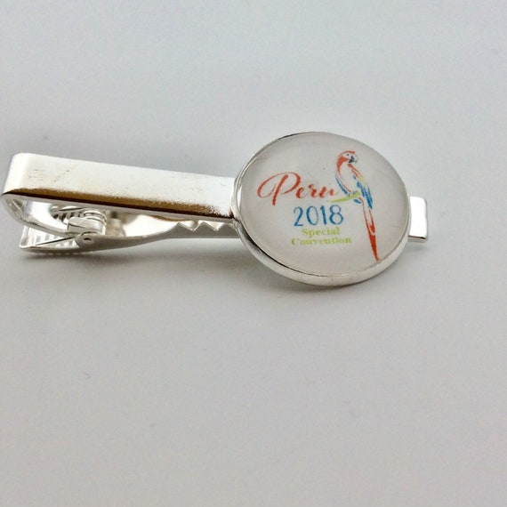 JW Peru Special Convention 2018 Tie Clip. 20mm.Great gift idea.  Presented in a Blue Velvet Gift Bag. Tie Clip only