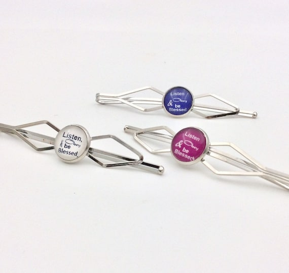 JW Set of 3 Hairpins in purple, pink and white.  Limited Edition.