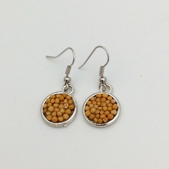 JW Mustard Seed Drop Earrings, silver plated