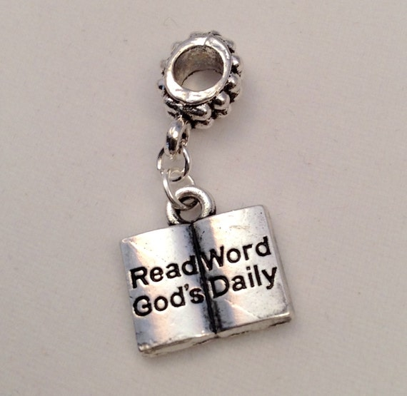"JW Charm, ""Read God's Word Daily""  Bible, European Style,  Silver-tone.  Blue velvet gift pouch included. #306"
