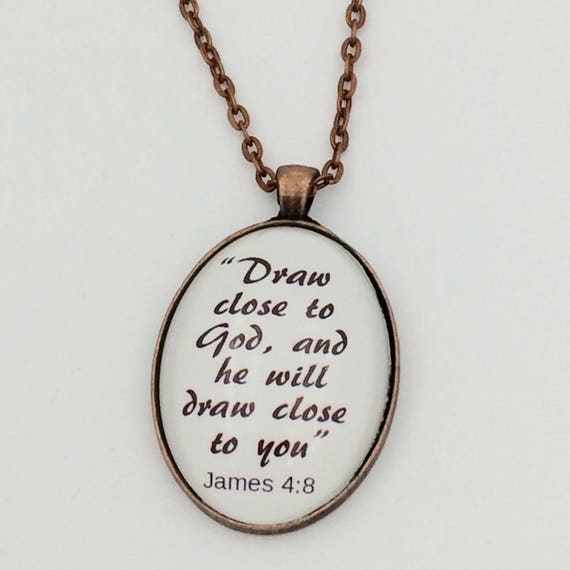 "JW ""Draw close to God...."" , Handmade Copper or Silver tone Pendant,  Blue velvet gift pouch."