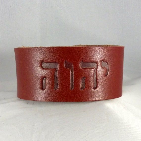 JW Tetragrammaton Top Grain Mens Leather Cuff ,  Double Snap, YHWH