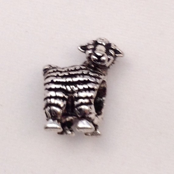 JW Charm, Sheep, European Style, Silver-tone.  Blue velvet gift pouch included. #307