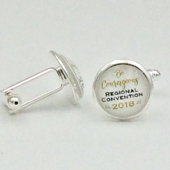 """JW """"Be Courageous 2018 Regional Convention"""" Cufflinks Silver-tone and Glass.  Blue Velvet gift bag"""