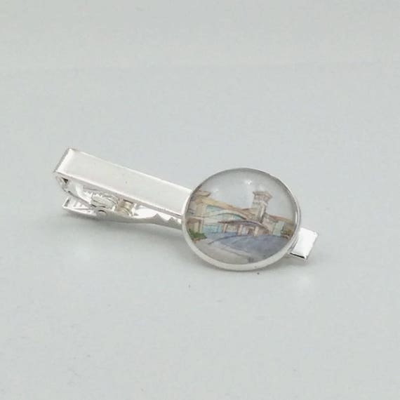 JW Warwick Watercolor Tie Clip. 20mm.Great gift for a special Elder. Presented in a Blue Velvet Gift Bag. Tie Clip only #407