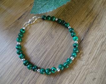 "Real 6//8//10//12//14mm naturel vert jade ronde Gems Perles Élastique Bracelet 7.5/"""