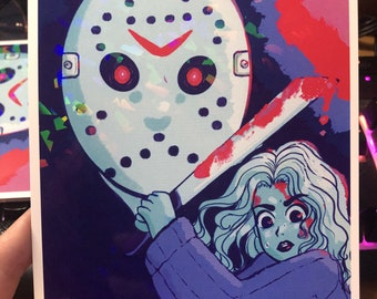 JASON Voorhees | SLASHER | HOLOGRAPHIC print | Friday the 13th | horror | ghost face | scary movie | art | decor