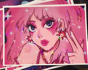 JEM | jem and the holograms | HOLOGRAPHIC print | 80s | aesthetic | 80s hair band | art |decor