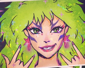 PIZZAZZ | jem and the holograms | HOLOGRAPHIC print | 80s | aesthetic | 80s hair band | art |decor