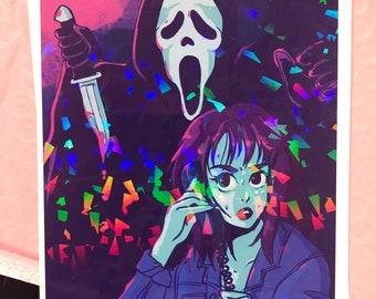 SCREAM | SLASHER | HOLOGRAPHIC print | horror | ghost face | scary movie | art |decor