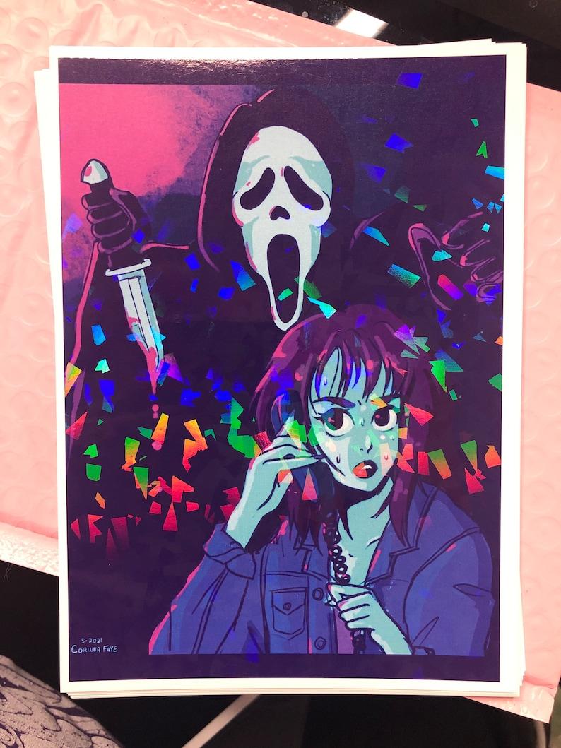 SCREAM  SLASHER  HOLOGRAPHIC print  horror  ghost face  image 1