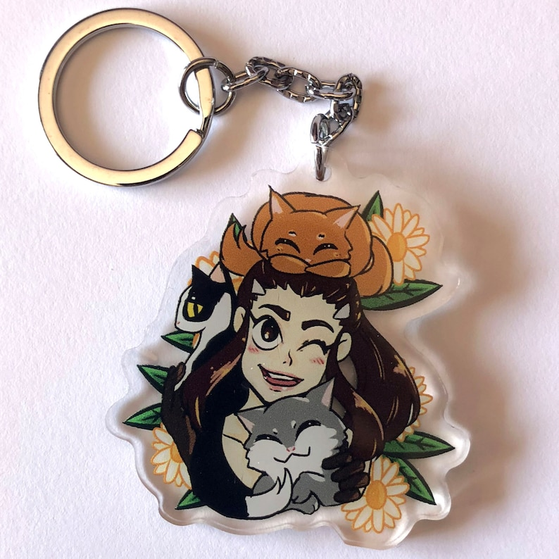 2 inch double sided clear acrylic charm keychain of Brigitte image 0