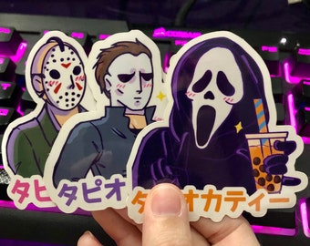 SCREAM | HALLOWEEN | ghost face | Michael Myers | Jason Voorhees | slasher | horror | scary movie | friday the 13th | stickers | boba