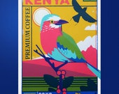 Lilac-Breasted Roller bird - Kenyan coffee - Coffee origin print - Coffee screen print - Coffee wall art - Toucan Tango Design - Coffee art