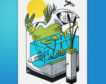 Heron screen print - Dragonfly art - Heron print - Fish tank print - A3 screen print - Fish screen print - Bird watcher gift - Valentine's