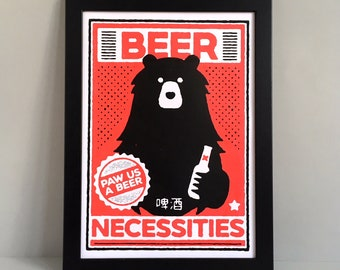 Beer screen print - Beer poster - Beer lover gift - Funny bear pun - Beer drinker gift - A3 bear screen print - Mother's Day -  Beer print
