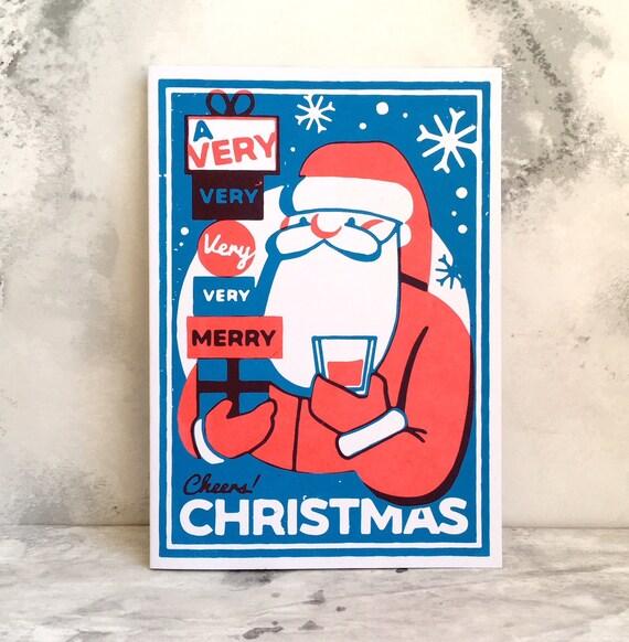 Christmas Puns For Kids.Funny Christmas Card Santa Claus Card Father Christmas Art Funny Christmas Puns Stocking Filler Xmas Card For Kids Screen Print