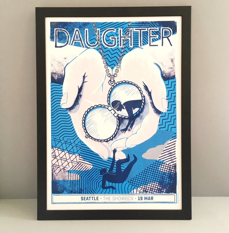 Daughter U S & Canada tour poster, official 2016 gig poster, U K  band,  Indie folk band, official merchandise, gig poster, hand printed