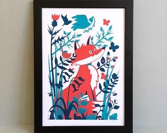 Fox screen print - Red fox - Wild fox print - British wildlife - Wildlife screen print - Nursery room decor - Wildlife art print - Birthday