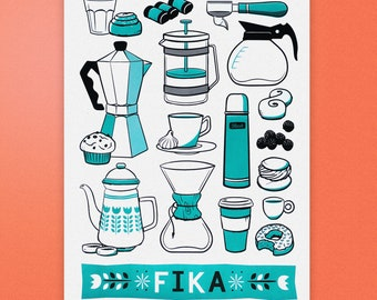 FIKA - Swedish poster print - Scandinavian print - Coffee screen print - Coffee poster - Scandi influence - Hygge print - Swedish influence