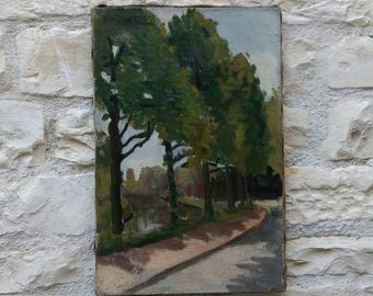 Antique French landscape oil on canvas painting of French boulevard, signed, circa 1900.