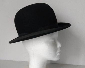 French vintage black felt bowler hat by maker Chapelier Anglais 7b3e26821a99