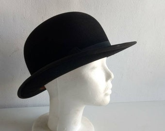 5b8b490b96b023 Large French vintage / antique black felt bowler hat, steampunk, banker's  hat, clockwork orange, Derby day hat circa 1930s.