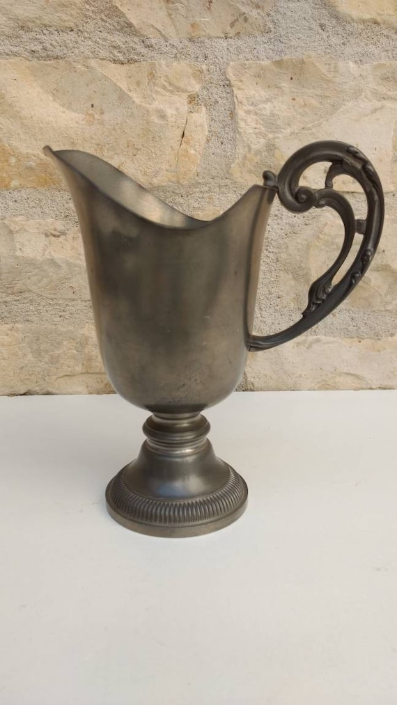 French Vintage Pewter Jug With Decorative Handle Rustic Vase Etsy