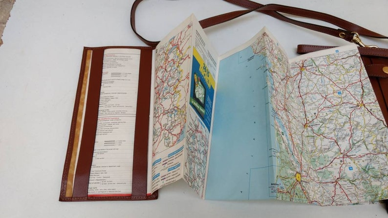 French vintage brown leather look map holder bag with one vintage map circa 1990s. Jensen map bag