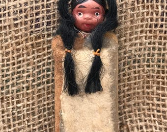 """Adorable Vintage Skookum Papoose Indian Doll Celluloid Head Wooden body Blanket 1940's Souvenier 3 1/2"""" Tiny!!"""
